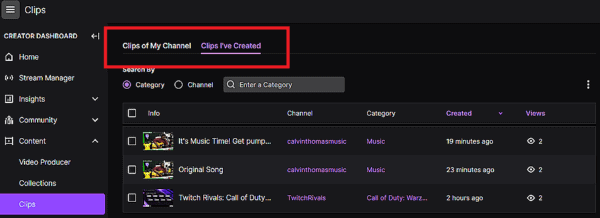 Twitch Clips Manager Options